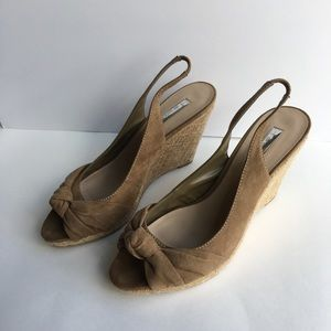 H BY HALSTON tan wedges